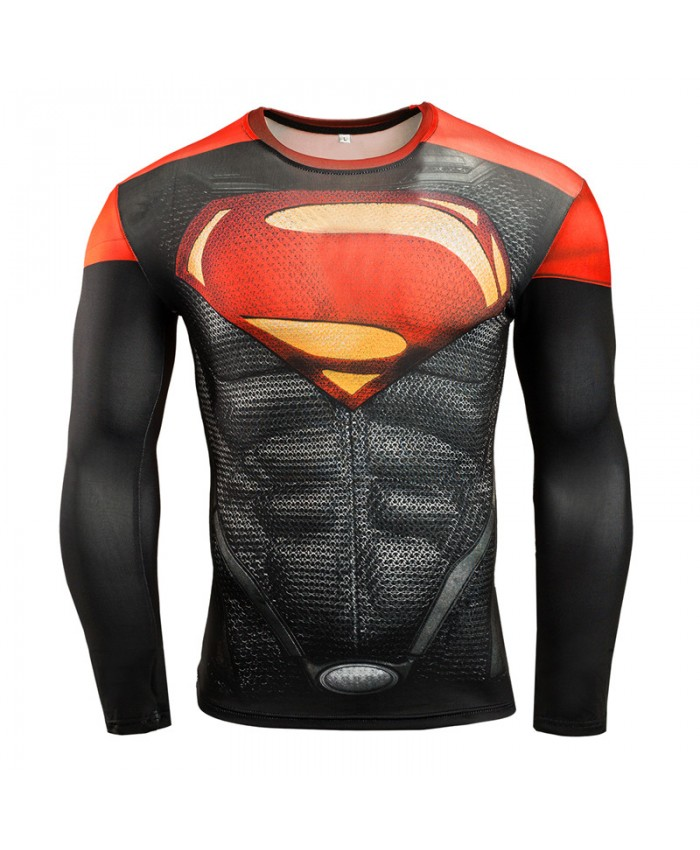 SUPERMAN Compression Shirt for Men T-shirts 3D Long Sleeve Tees