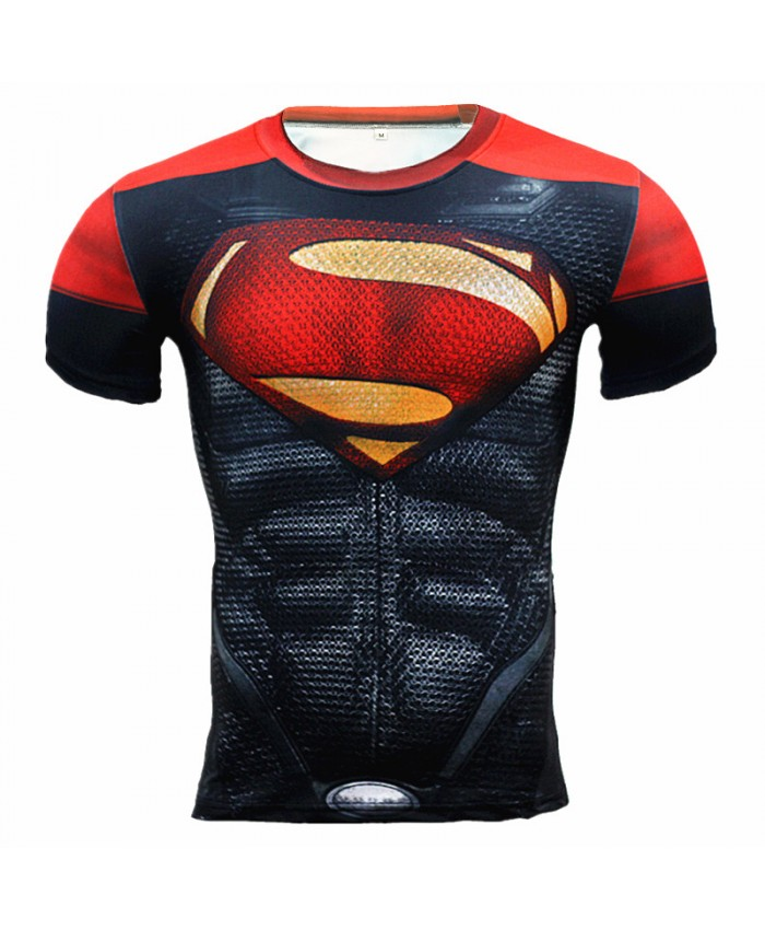 SUPERMAN Compression Shirt for Men T-shirts 3D Short Sleeve Tees