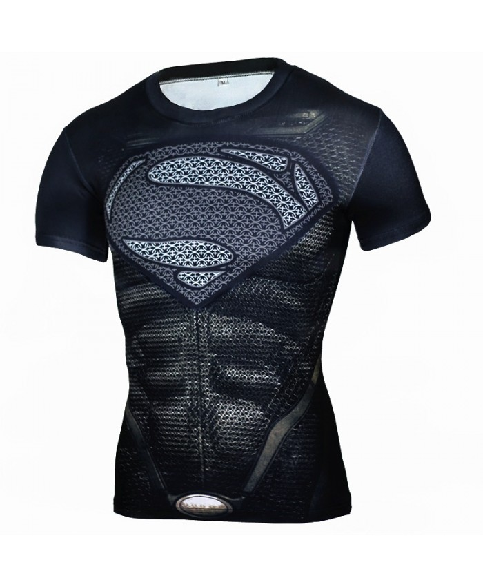 SUPERMAN Compression Shirt for Men Tops Tshirts 3D Short Sleeve Tees