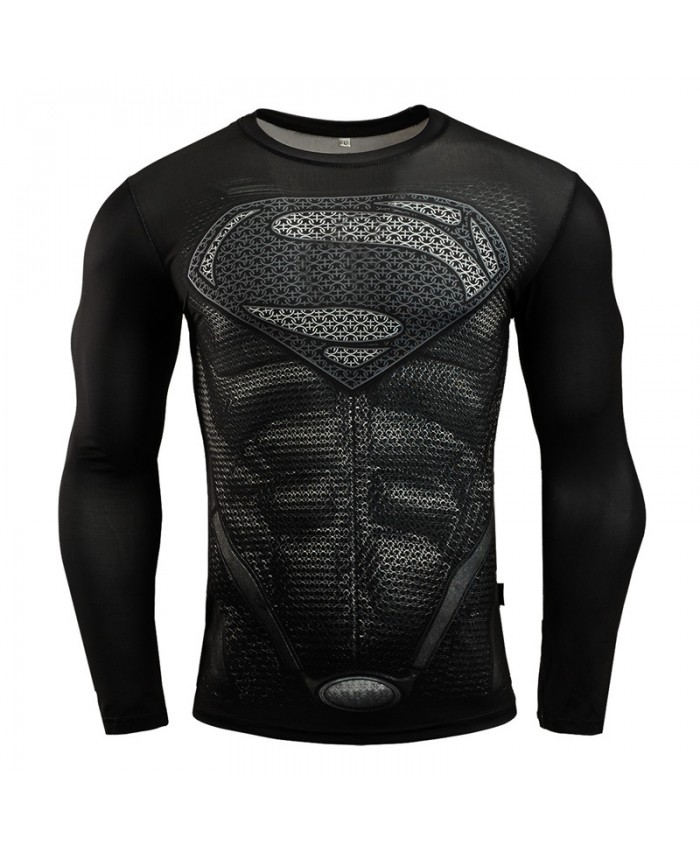 SUPERMAN Compression Shirt for Men Tops Tshirts 3D Long Sleeve Tees