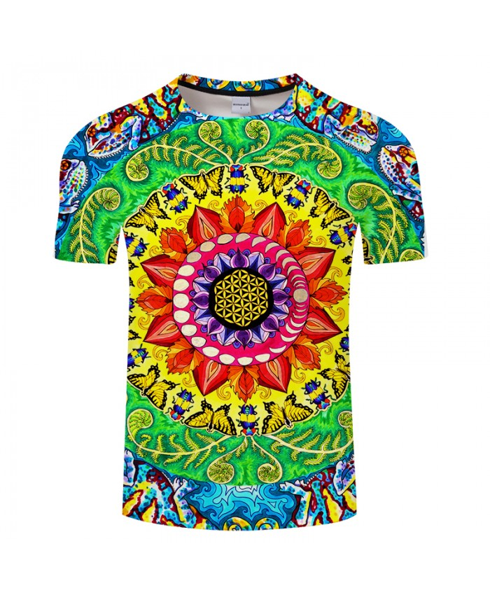 Samsara Mandala Rectangle Print By Art 3DPrint T shirt Men Women Summer Casual ShortSleeve Top&Tee Boy Tshirt