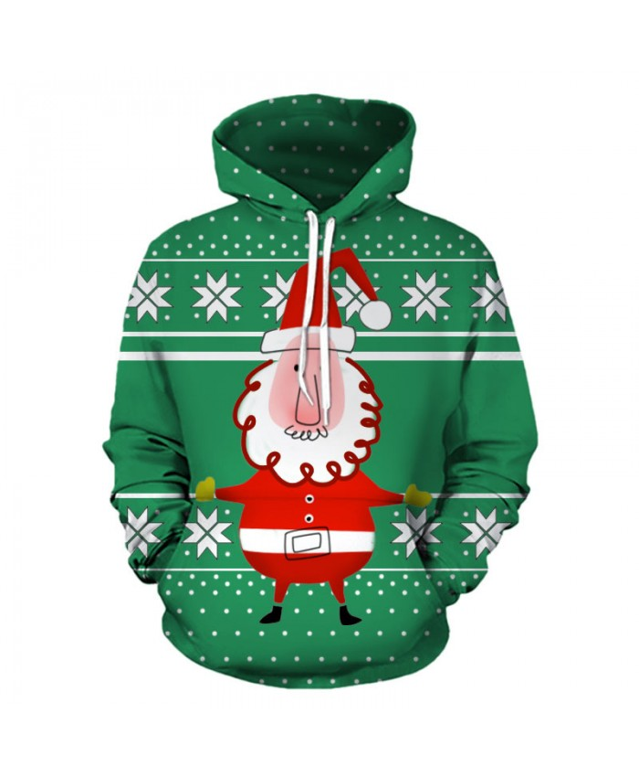 Santa Claus Green Hoodies 3D Sweatshirts Men Women Hoodie Print Couple Tracksuit Hooded Hoody Clothing