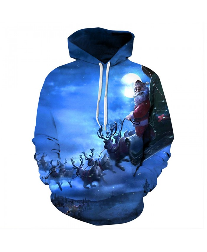 Santa Claus is on the road in Christmas Eve Hoodies 3D Sweatshirts Men Women Hoodie Print Couple Tracksuit Hooded Hoody Clothing
