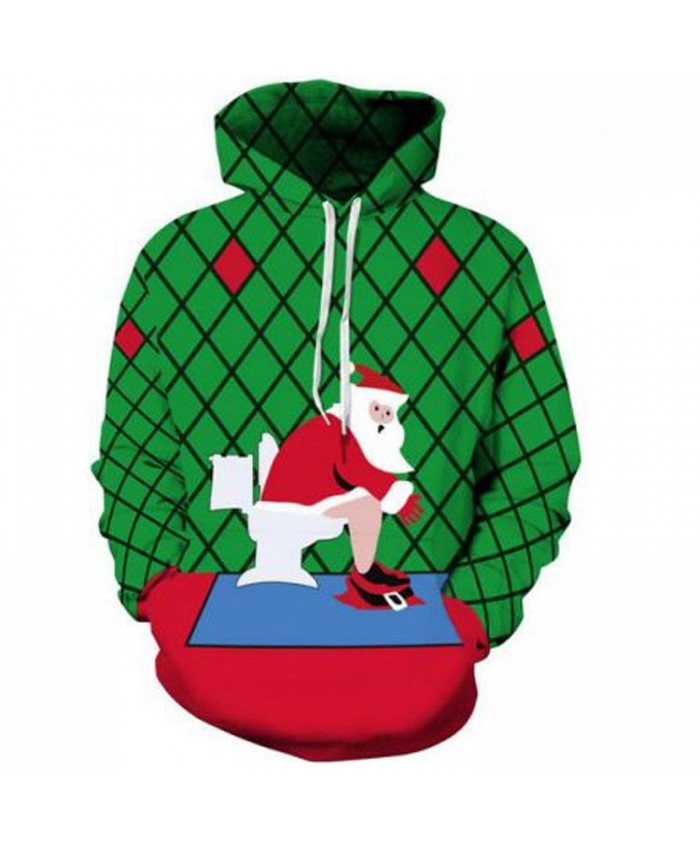 Santa Claus on the toilet Christmas Hoodies 3D Sweatshirts Men Women Hoodie Print Couple Tracksuit Hooded Hoody Clothing