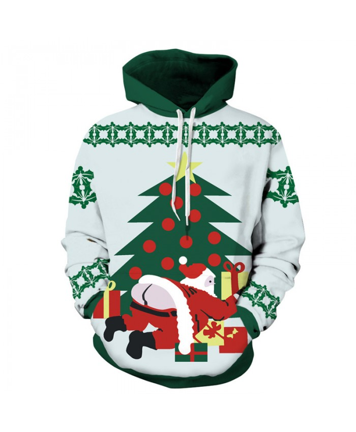 Santa Claus with bare bottom printing fashion Christmas series pullover sweatshirt 3D Pattern Print Hoodies Men Women Casual Sweatshirt