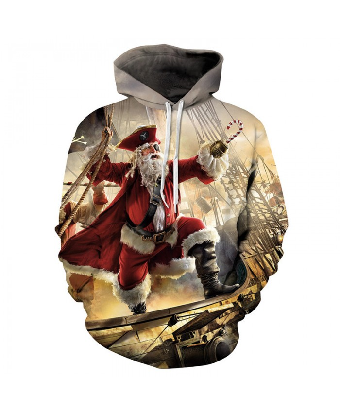 Santa became a pirate Christmas Hoodies 3D Sweatshirts Men Women Hoodie Print Couple Tracksuit Hooded Hoody Clothing