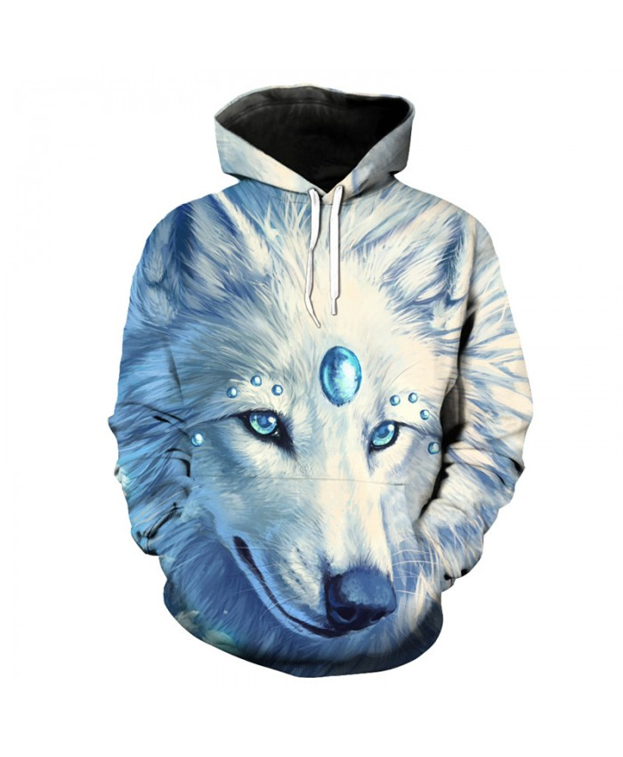 Sapphire White Wolf Print Casual Men Women Hooded Sweatshirt Men Women Casual Pullover Sportswear