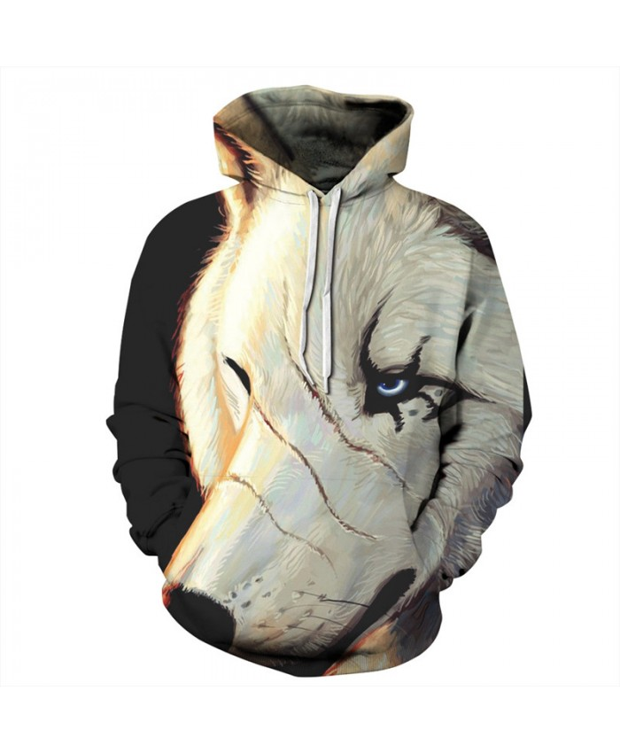 Scarf White Wolves Print Fashion Hoodies Fall Pullovers Neutral Hoodies Sweatshirts Men Women Casual Pullover Sportswear