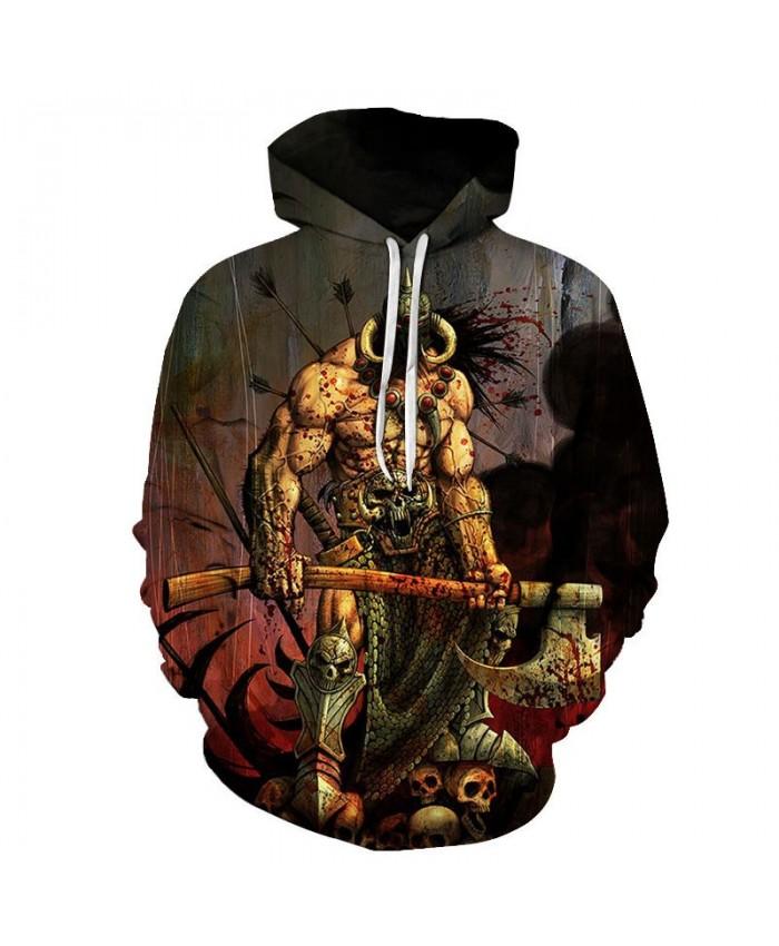 Scary Cartoon Character Pullover Sweatshirt Clothing for Mens Custom Pullover Hoodie Streetwear Sweatshirt Casual