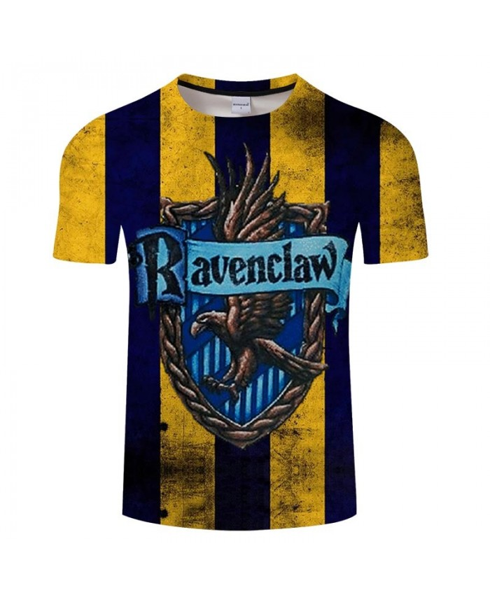 School Badge Ravenclaw Movie 3D Printed Men tshirt Crossfit Shirt Casual Summer Short Sleeve Male tshirt Brand Men