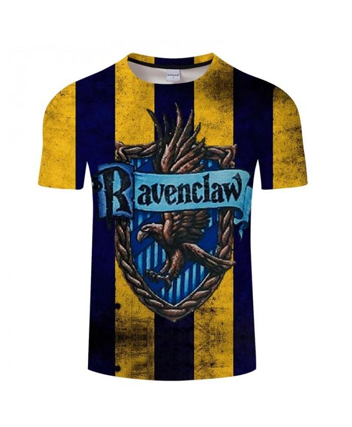 School Badge Ravenclaw Movie 3D Printed Men tshirt Crossfit Shirt Casual Summer Short Sleeve Male tshirt Brand Men