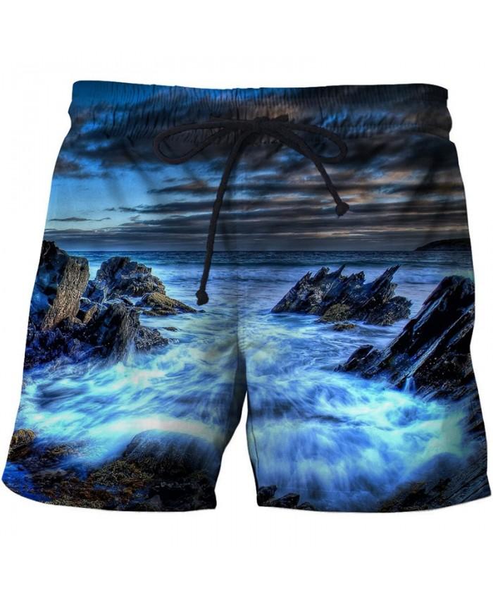 Sea Reef Men Board Shorts 3D Print Men Shorts Casual Summer Cool Men Elastic Waist Male Fitness Shorts Drop Ship