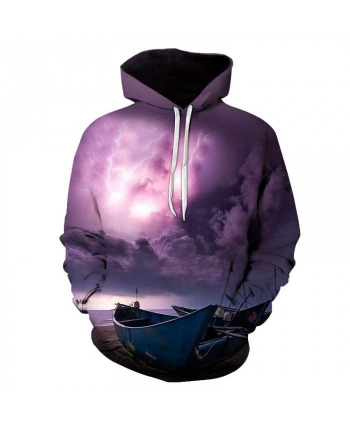 Seaside Lightning Printed 3D Hoodies Unisex Sweatshirts Men's Plus Size Quality Tracksuits Funny Outwear Autumn Male Jacket New