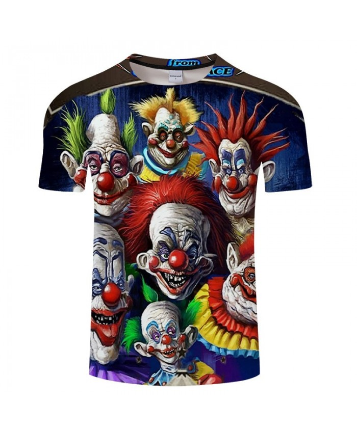 Seven Clowns 3D Print tshirt Men tshirt Summer Casual Short Sleeve Male Quick Dry Breathable O-neck Drop Ship
