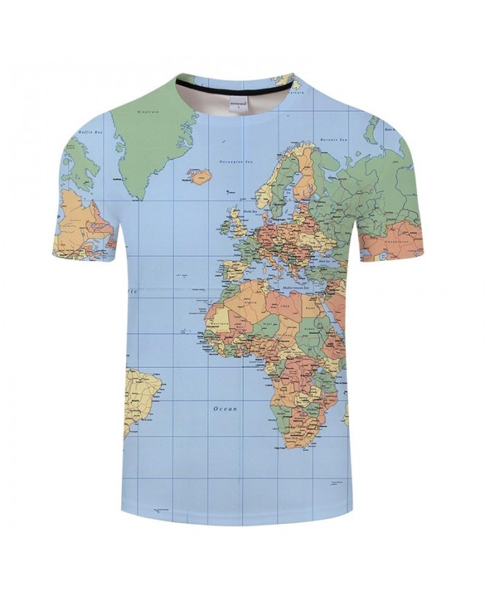 Seven Oceans Map 3D Printed Men tshirt Mens Shirt Casual Summer Short Sleeve Men T Shirts Fashion Men Round Neck