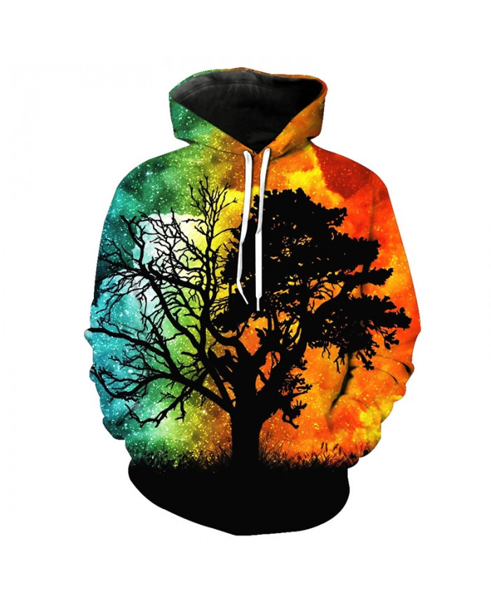 Seven-color Sky Life Tree Hoodie Autumn Hooded Sweatshirt