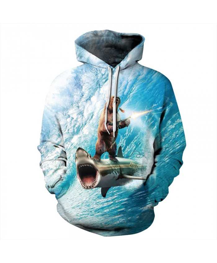 Shark Warships Crazy Bear Funny Fashion Hooded Sweatshirt