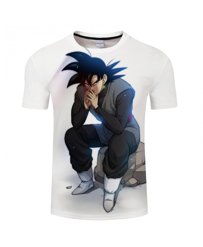 Sitting Goku White Goku 3D Print T shirt Men Summer Casual Short Sleeve Tops&Tees Tshirts Dragon Ball Drop Ship Hot
