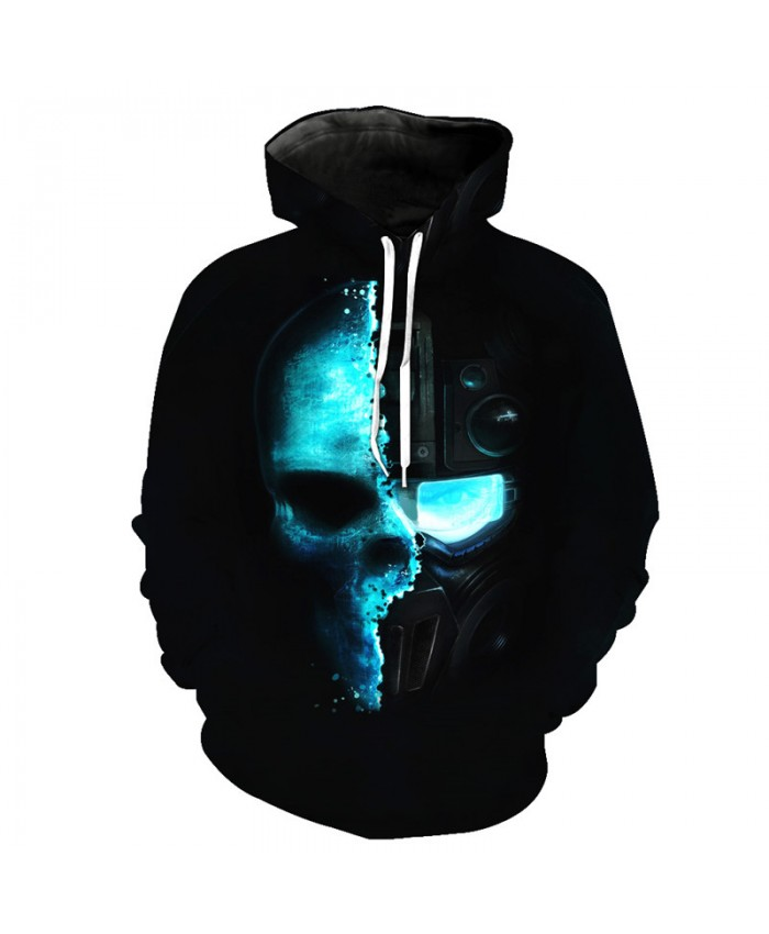 Skeleton Mask Printing Men's Fashion Hooded Sweatshirt Pullover Tracksuit Pullover Hooded Sweatshirt