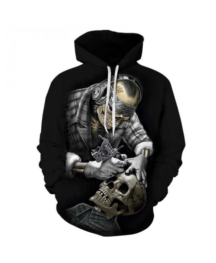 Skull 3D Sweatshirts Men/Women Hoodies With Hat Print Fashion Autumn Winter Loose Thin Hooded Hoody Tops