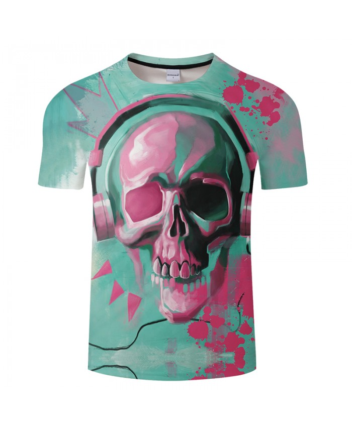 Skull&Music 3D Print t shirt Men Women tshirts Summer Funny Casual Short Sleeve O-neck Tops&Tees 2021 Drop Ship