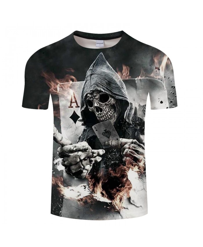 Skull Poker 3D Printed Men's T-shirt Women t shirt 2019 Summer Short Sleeve Tops Tees Drop Ship
