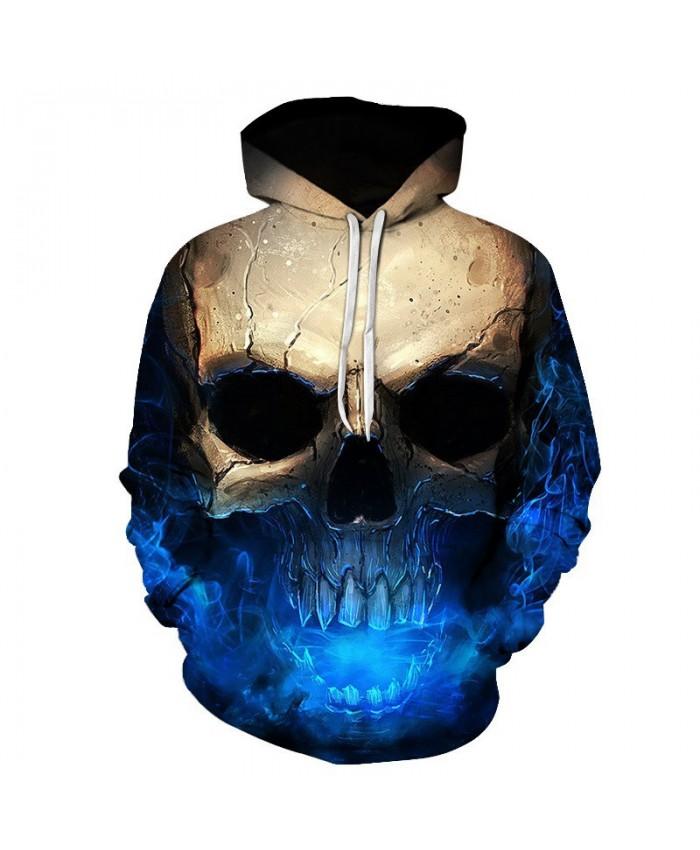 Skull Printing Coll Hoodies Blue Star Street Hip-Hop Sweatshirt Tracksuit Pullover Hooded Sweatshirt