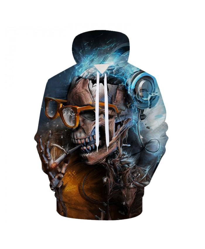 Skull Smoking Men Hoodies Sweatshirts 3D Printed Funny Hip HOP Hoodies Novelty Streetwear Hooded Autumn Jackets Male Tracksuits