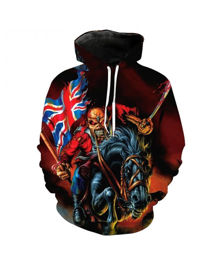 Skull Style Men's Sweatshirts Zombie Knight British Flag Fashion Hoodie Pullover Tracksuit Pullover Hooded Sweatshirt