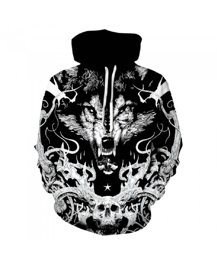 Skull Wolf Hoodie Hoodies Men Women 2019 New Fashion Spring Autumn Pullover Sweatshirts Sweat Homme 3D Tracksuit