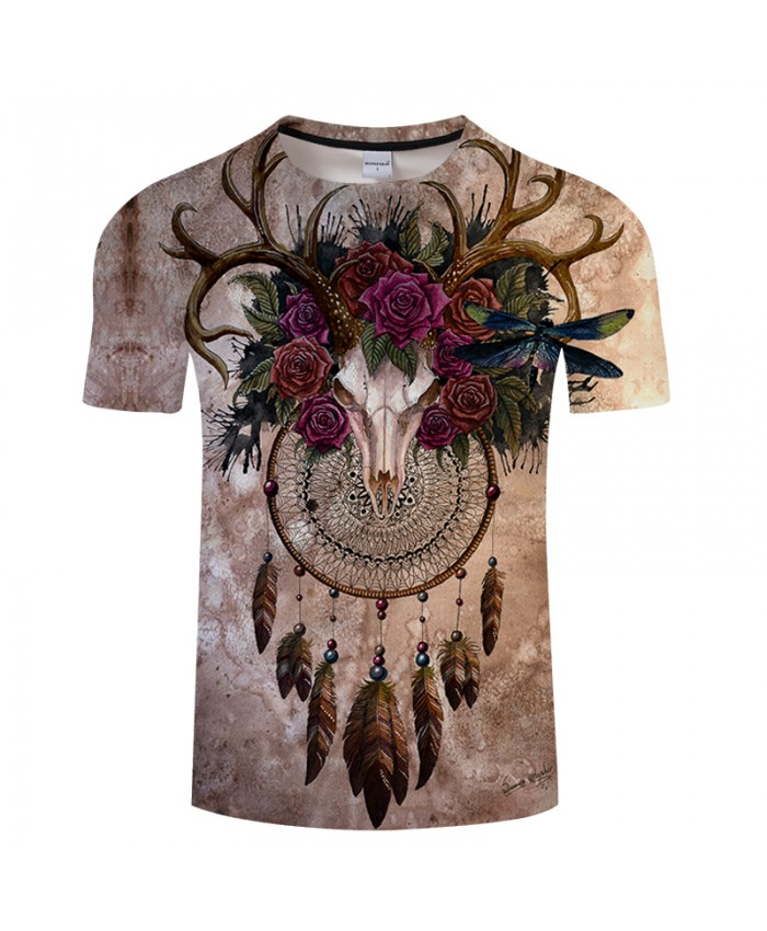 Skull dreamcatcher By Sunima Art 3D ElkPrint T shirt Men Summer Casual Short Sleeve Tops&Tees Boys Tshirt 2019 Camiseta DropShip