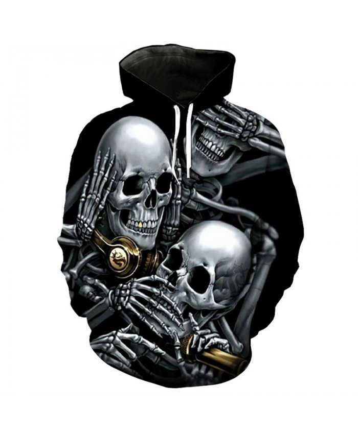 Skull music party fun 3D hooded sweatshirt fashion pullover streetwear Tracksuit Pullover Hooded Sweatshirt