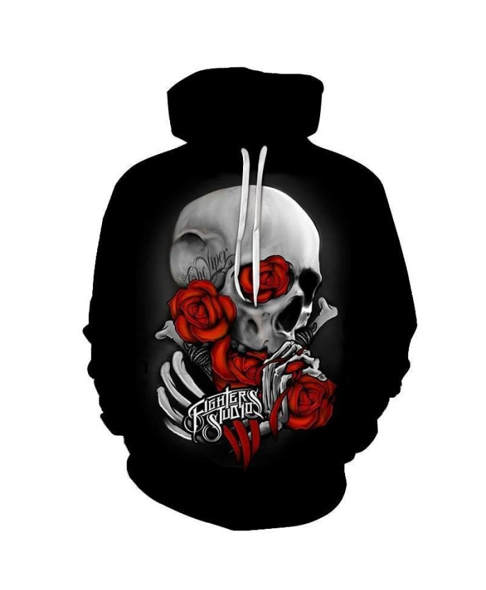 Skull wear Red Rose 3D Prints Hoody Pullover 2021 Mens Autumn Hoodies Sweatshirt Drop Ship Hoodies Cloth