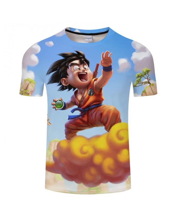 Sky&Cloud Saiyan 3D Print T shirt Men Summer Cartoon Short Sleeve Tops&Tees Boy Tshirts Dragon Ball Cool Drop Ship