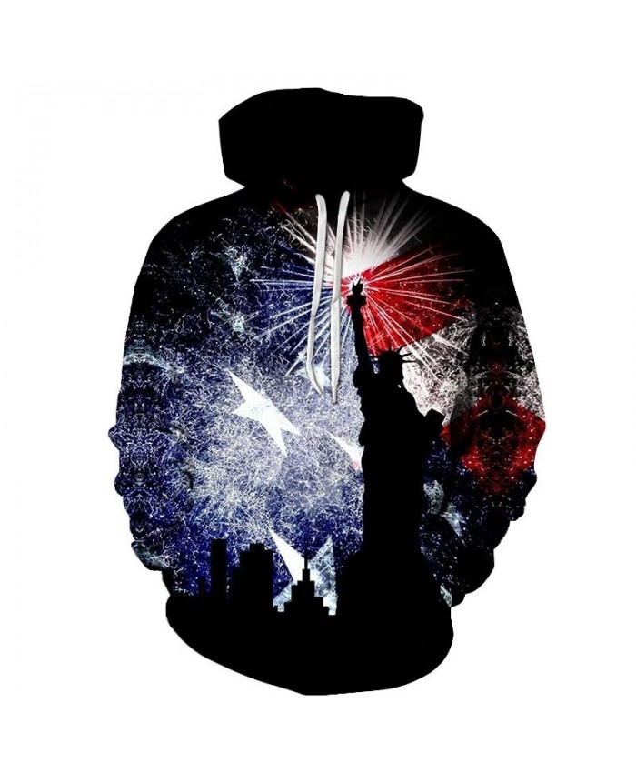 Sky Fireworks 3D Printed Pullover USA Flag Pullover Hoodie Casual Hoodie Fashion Men Hoodie Fashion Casual Quality