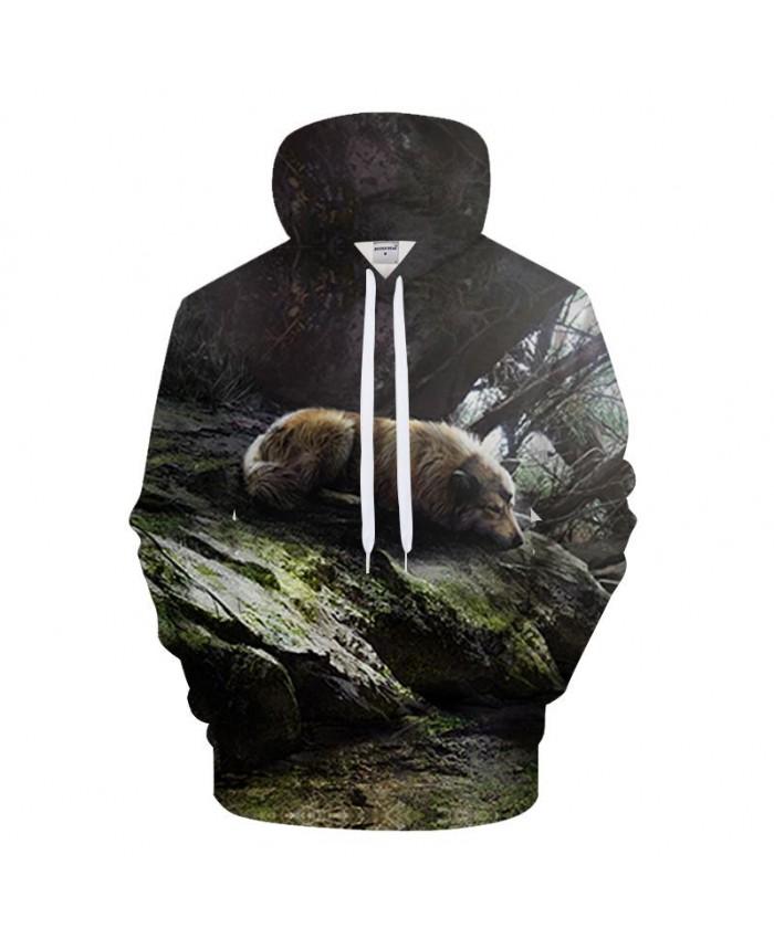 Sleeping 3D Hoodies Men Wolf Sweatshirt Harajuku Tracksuit Casual Pullover Print Hoody Funny Coat Brand 2021 DropShip