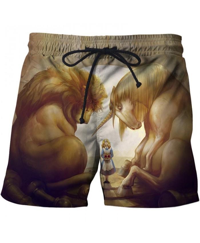 Sleeping Lion 3D Print Men Shorts Casual Cool Elastic Waist Men Stone Printed Beach Shorts Male Fitness Shorts