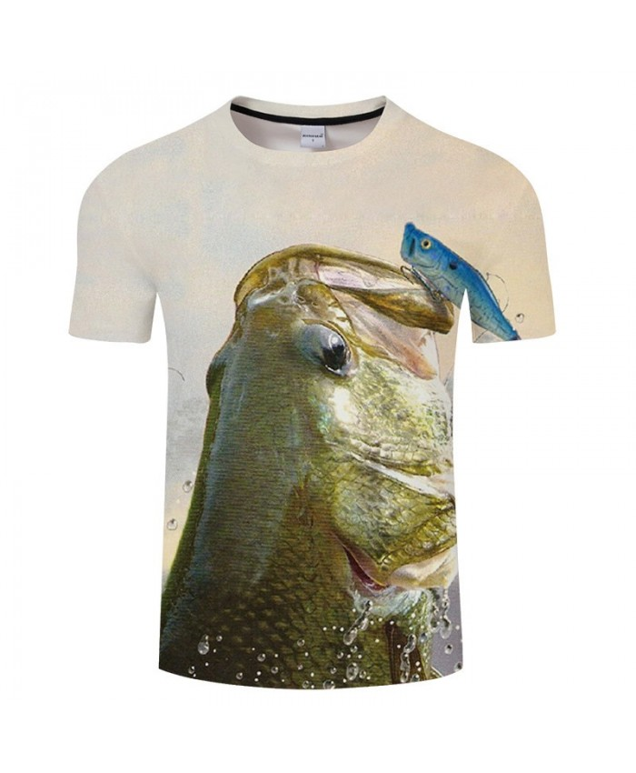 Small Fish Climbed Onto The Big Fish 3D Print T Shirt Men tshirt Summer Casual Slim Men Short Sleeve O-neck Tops&Tee