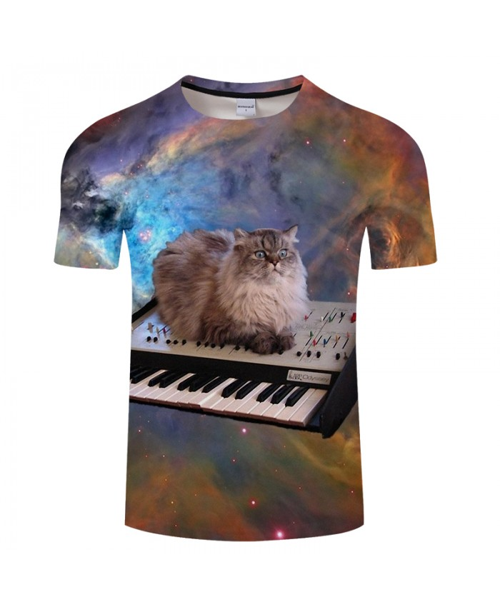 Smart cat&Keyboard 3D Print t shirt Men Women tshirt Summer Funny Short Sleeve O-neck Tops&Tee Streetwear Drop Ship