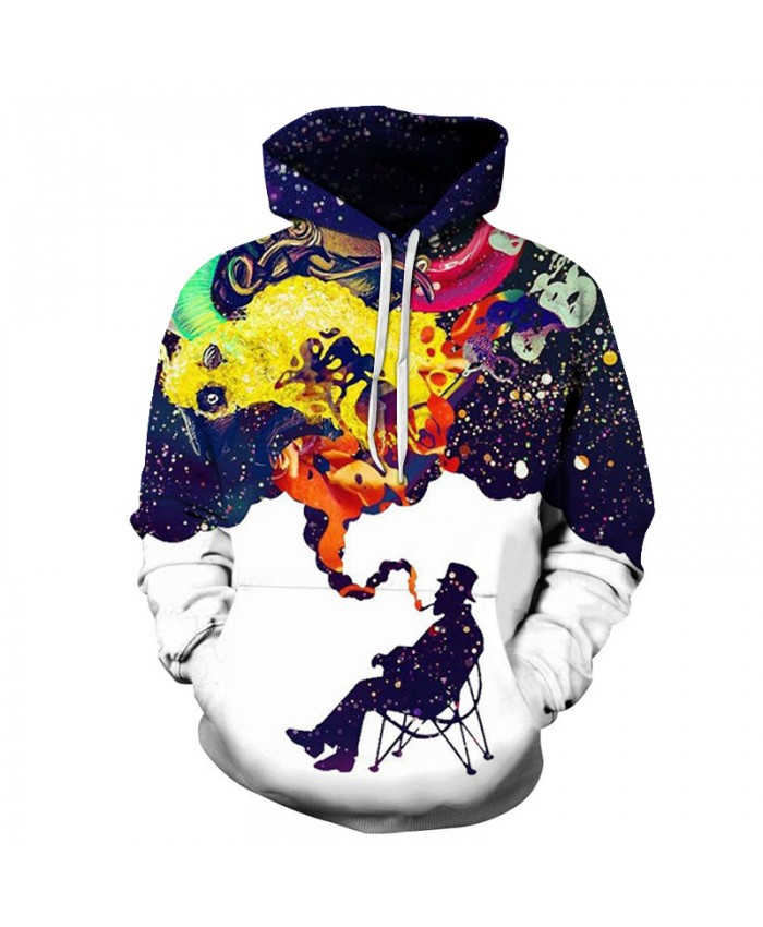 Smoking Galaxy 3D Sweatshirts Men Women Hoodies With Hat Print Stars Nebula Autumn Winter Loose Thin Hooded Hoody Tops