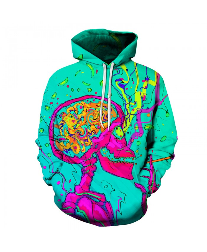 Smoking Skull 3D Sweatshirts Men/Women Hoodies With Hat Print Fashion Autumn Winter Loose Thin Hooded Hoody Tops