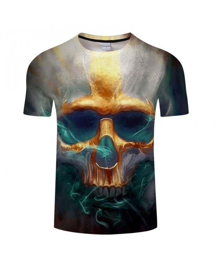 Smoky 3D t shirt Men Skull tshirt Print T-Shirt Summer Tops Casual Tees ShortSleeve Harajuku Streetwear 2021 DropShip