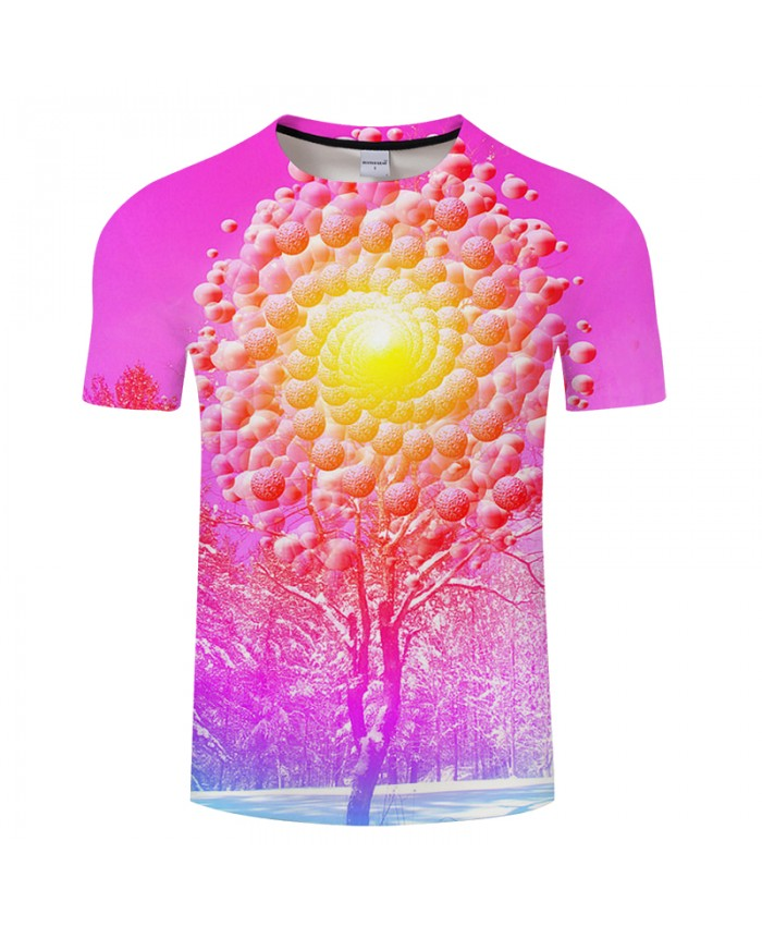 Snow&Sun&Tree 3D Print t shirt Men Women tshirt Summer Funny Short Sleeve O-neck Tops&Tees 2018 Purple Hot Drop Ship