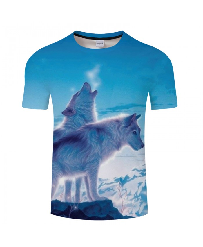Snow Wolf 3D Print t shirt Men Women tshirt Summer Funny Short Sleeve O-neck Tops-Tee Blue Classic 2018 Drop Ship