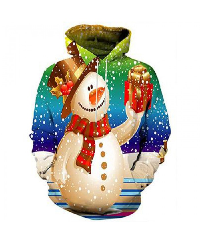 Snowman's gift Christmas Hoodies 3D Sweatshirts Men Women Hoodie Print Couple Tracksuit Hooded Hoody Clothing