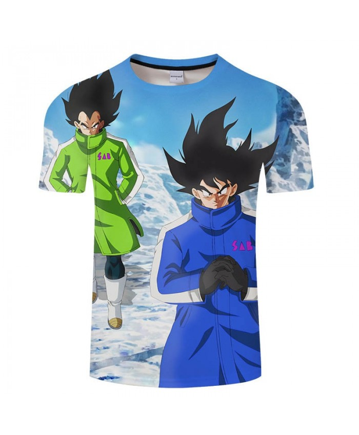 Snowy Cartoon Goku Dragon Ball 3D Print tshirt Men tshirt Casual 2021 New Short Sleeve Male O-neck Drop Ship