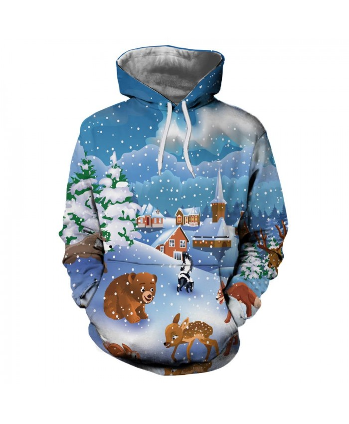 Snowy Little Animal Christmas Christmas Hoodies 3d Sweatshirts Men&Women Hoodie Print Couple Tracksuit Hooded Hoody Clothing