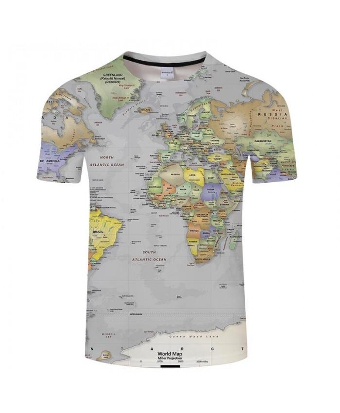 South Atlantic Map 3D Print Men tshirt Mens Shirt Casual Summer Short Sleeve Male tshirt Brand Men Round Neck