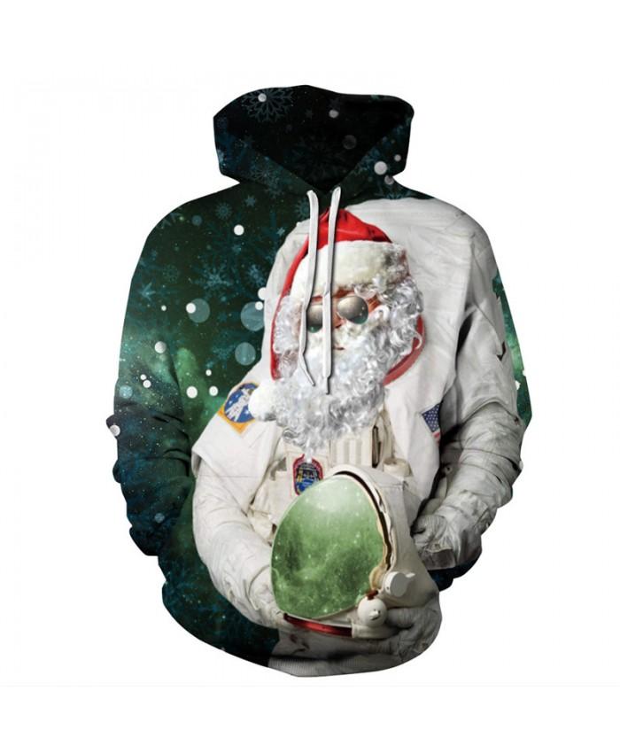 Space Astronaut Santa Prints Fun 3D Christmas Series Hooded Sweatshirt Pullover sweatshirt 3D Pattern Print Hoodies Men Women Casual Sweatshirt