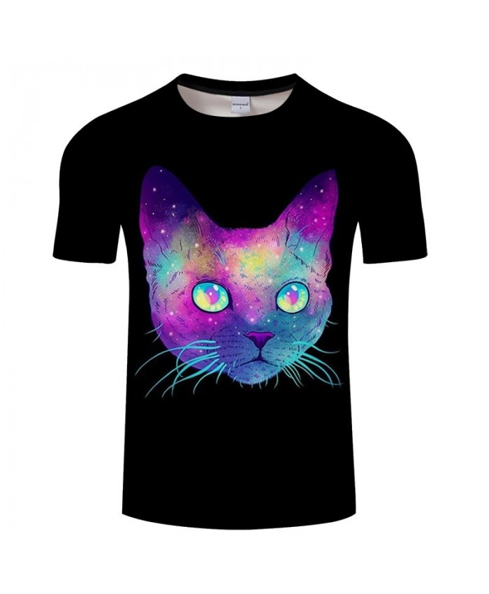 Sparkling Cat 3D Printed Men tshirt Crossfit Shirt Casual Summer Short Sleeve Male tshirt Brand Men Round Neck